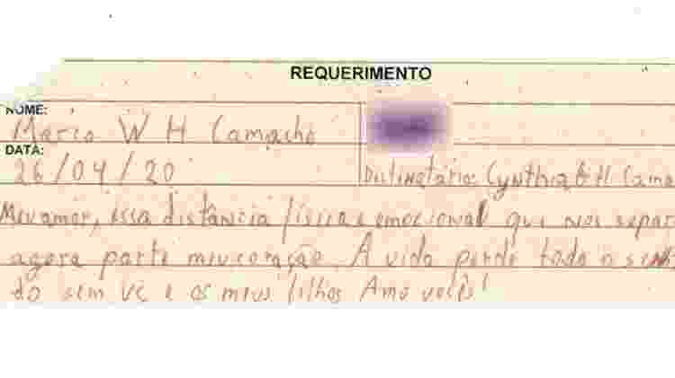 Carta de Marco Willians Herbas Camacho para a mulher 3 - UOL - UOL