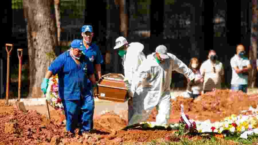Enterro de vítima da covid-19 no Cemitério Vila Formosa, na zona leste de São Paulo, na manhã deste sábado (11) - Roberto Costa/Código19/Estadão Conteúdo