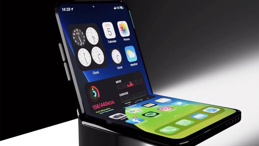 Foto mostra conceito de um iPhone dobrável no estilo flip - Reprodução/YouTube
