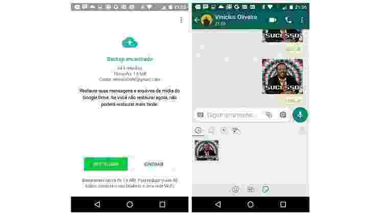 WhatsApp - restaurar conversa / backup - Reprodução - Reprodução