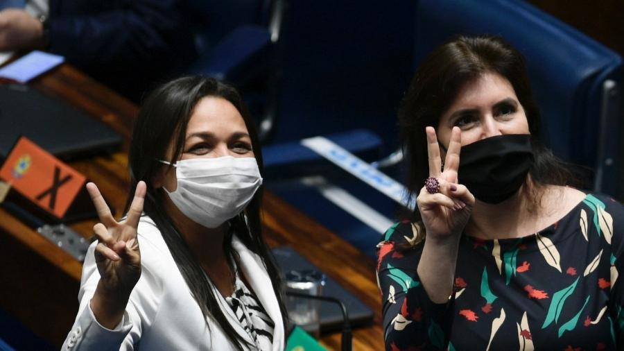 As senadoras Eliziane Gama (Cidadania-MA) e Simone Tebet (MDB-MS); bancada feminina sugeriu proposta de pensão aos órfãos da covid - Pedro França/Agência Senado