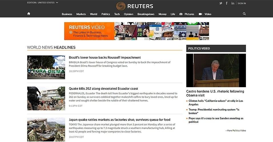 """17.abr.2016 - O site da agência """"Reuters"""" reportou a aprovação na Câmara do processo de impeachment, informando que o resultado pode significar no fim dos 13 anos do PT no governo federal"""