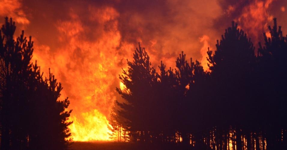 20.mai.2016 - Incêndio florestal de grande proporção queima parte do Parque Nacional de Hulun Buir, região autônoma da Mongólia, norte da China
