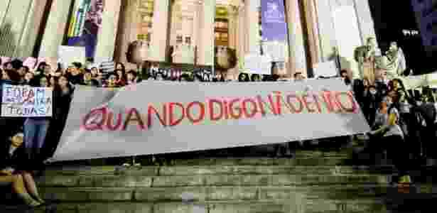 Mulheres fazem ato contra a cultura do estupro no centro do Rio de Janeiro - Rudy Trindade/Framephoto/Estadão Conteúdo