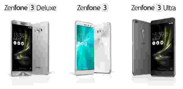 30.mai.2016 - Zenfone 3 Deluxe, Zenfone 3 e Zenfone 3 Ultra, da Asus - Divulgação