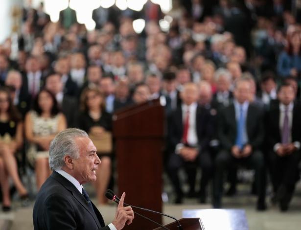 7.mar.2017 - O presidente Michel Temer discursa durante posse de ministros da Justiça e das Relações Exteriores