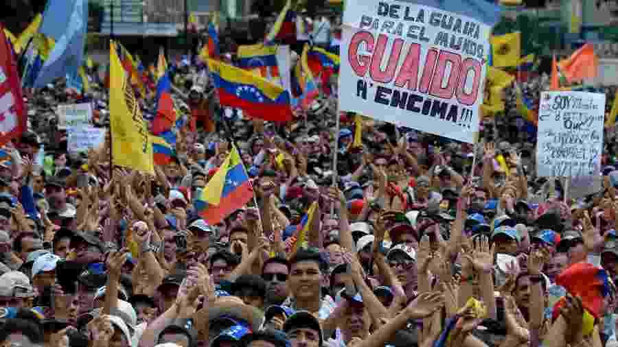 23.jan.2019 -Os partidários da oposição venezuelana saem às ruas para protestar contra o governo do presidente Nicolas Maduro - Federico PARRA / AFP
