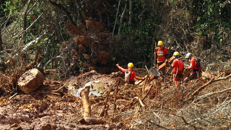 8.fev.2019 - Bombeiros trabalham no resgate de vítimas do rompimento da barragem da Vale em Brumadinho (MG) - Edmar Barros/Futura Press/Estadão Conteúdo
