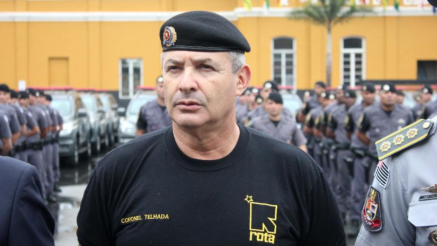 Telhada participa da solenidade do 48º aniversário das Rondas Ostensivas Tobias de Aguiar (ROTA), no Batalhão Tobias de Aguiar, em São Paulo (SP - Willian Moreira/Futura Press