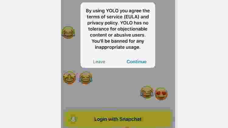 """""""Yolo não tem tolerância para conteúdo questionável ou usuários abusivos. Você será banido por qualquer uso inapropriado"""", diz alerta da empresa a usuários que baixam o app - BBC - BBC"""