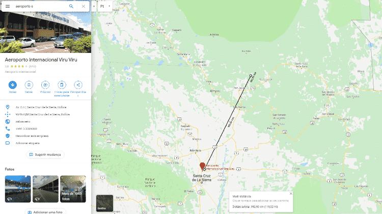 A distância apontada no percurso é de cerca de 190 km e a distância real percorrida pelo avião, contando ida e volta, foi de 394 km - Reprodução/Google Maps