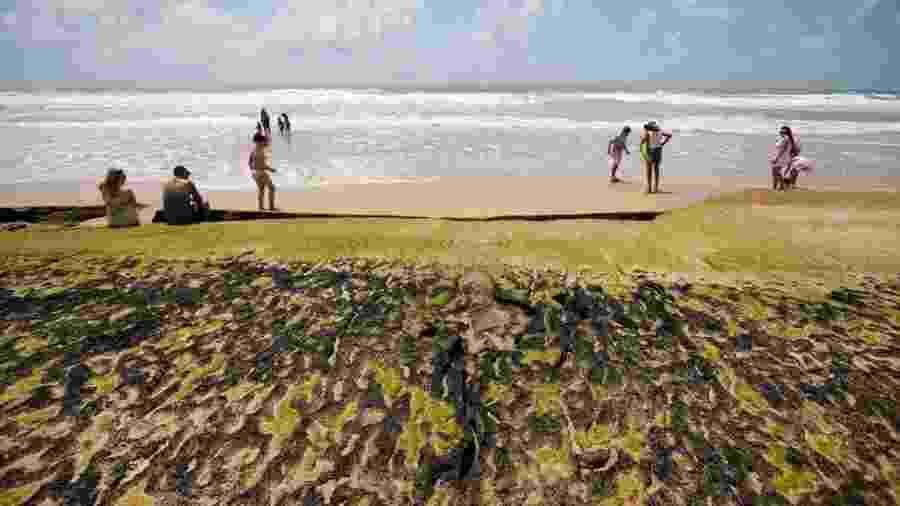 """Manchas e banhistas na beira d""""água em praia na Bahia; trajetória do óleo pode ter encontrado seu ponto máximo ao chegar em Salvador - REUTERS/Adriano Machado"""