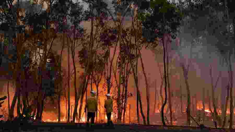 7.dez.2019 - Bombeiros atuam no combate a incêndios, na Austrália, em região a cerca de 100 km da capital Sydney - Saeed Khan/AFP