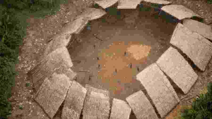 Maloca da comunidade Moxihatëtëma, subgrupo yanomami que vive em isolamento voluntário - Funai