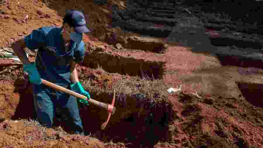 Coveiro trabalha no cemitério da Vila Formosa, em São Paulo - Getty Images