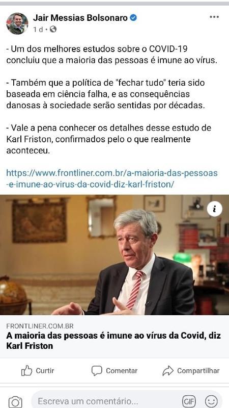 """Postagem de Bolsonaro no Facebook afirma """"que a maioria das pessoas é imune ao vírus"""" que causa a covid-19 - Reprodução - Reprodução"""