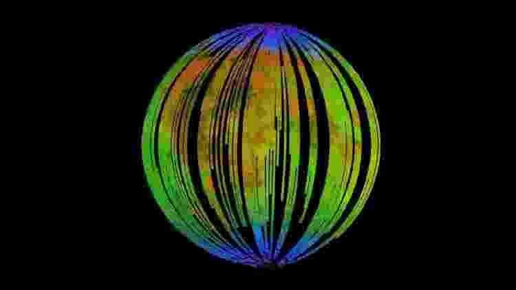 As cores azuis da Lua mostram a presença de óxido de ferro  - ISRO/NASA/JPL-Caltech/Brown Univ./USGS - ISRO/NASA/JPL-Caltech/Brown Univ./USGS