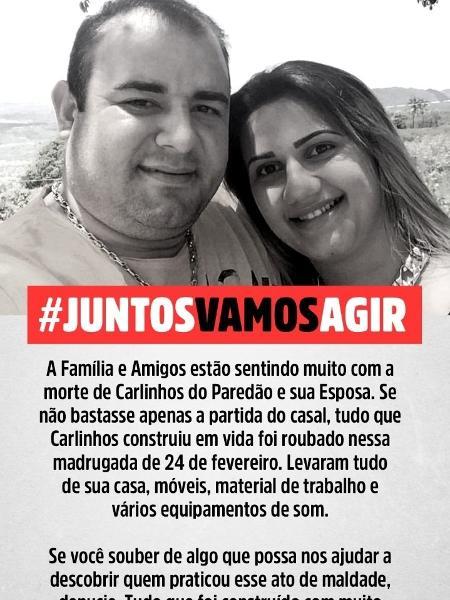 Família diz que equipamentos de José Carlos e Lívia pertencem às filhas e pedem por devolução - Divulgação