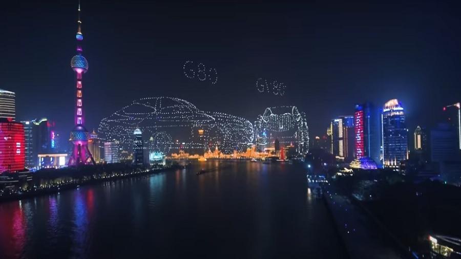 Show de luzes realizado por empresa chinesa de carros de luxo - Reprodução/Youtube/Guinness World Records