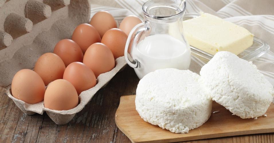 Queijo, leite e ovos