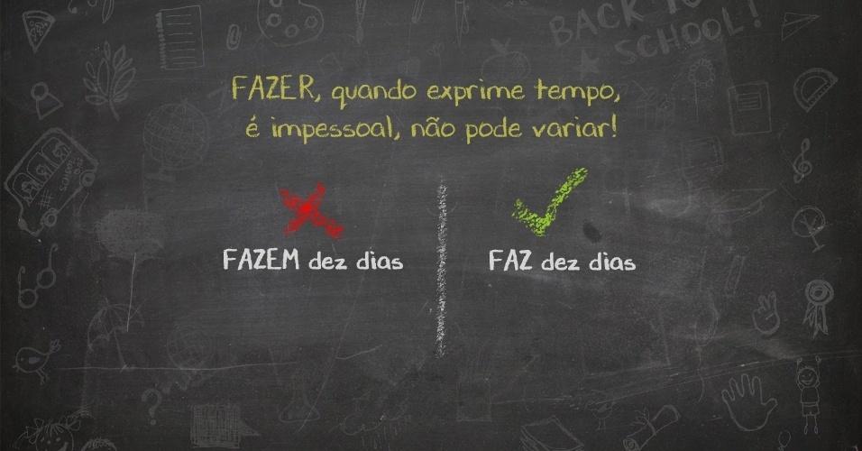 """FAZ dez dias ou FAZEM dez dias? O livro é para MIM ou para EU ler? Os falantes da língua portuguesa precisam ter muito cuidado com as """"pegadinhas"""" do idioma. Pensando nisso, o UOL separou alguns dos erros mais frequentes, segundo o livro """"Os 300 erros mais comuns da língua portuguesa"""", de Eduardo Martins, publicado pela Barros Fischer & Associados. Confira e não erre mais!"""