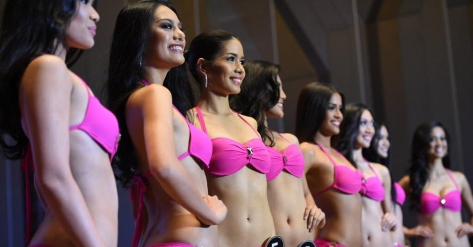 29.mar.2016 - Competidoras participam do Miss Filipinas, em Manila. Conhecido como Binibining Pilipinas, o concurso tem o intuito de escolher a mais bela candidata do país que irá disputar o Miss Universo
