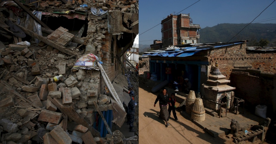 25.abr.2016 - Montagem mostra, à esquerda, equipes de resgate trabalhando em escombro em busca de possíveis vítimas após terremoto de magnitude 7,8 devastou parte da nação himalaia, em 1º de abril de 2016. À imagem direita é do mesmo local, já sem os escombros, sendo novamente habitado. Os nepaleses já prestam homenagens às vítimas do terremoto ocorrido no dia 25 de abril de 2015, que matou mais de 9.000 pessoas. A população segue adiante, mas uma em cada sete pessoas ainda vivem em casas improvisadas