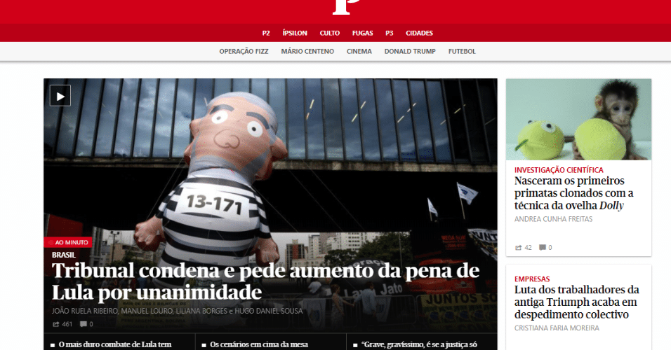 """Decisão vira manchete do jornal português """"Público"""""""