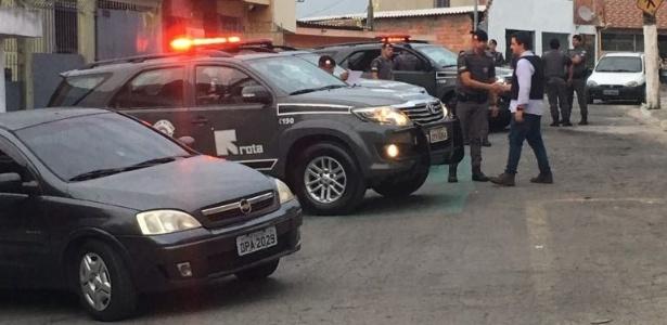 29.jul.2018 - Equipe da Rota na rua Grenoble, onde quatro suspeitos foram mortos - Divulgação/Polícia Civil