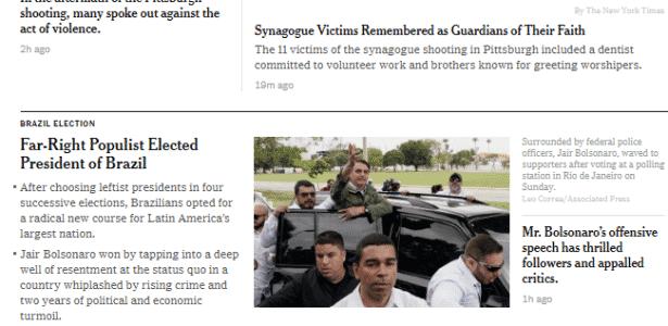 Bolsonaro no NYT - Reprodução - Reprodução