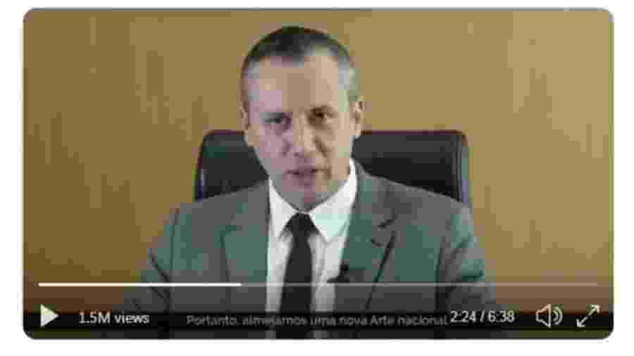 Roberto Alvim foi demitido após a repercussão de vídeo em que parafraseou o ministro da Propaganda de Hitler - Reprodução