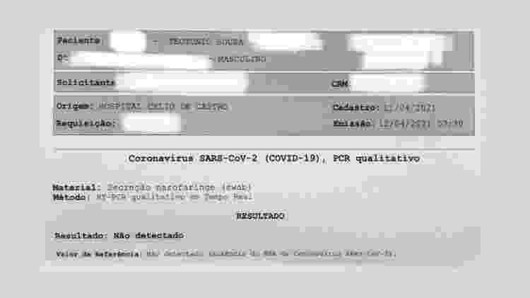 Teste RT-PCR apresentou resultado negativo, na terça-feira (13) - Arquivo pessoal - Arquivo pessoal