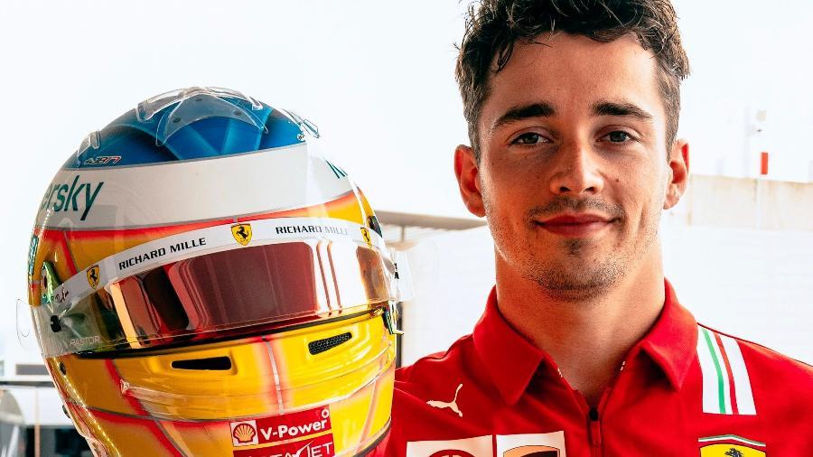 Charles Leclerc exibe seu capacete para o GP da França - Reprodução/Twitter