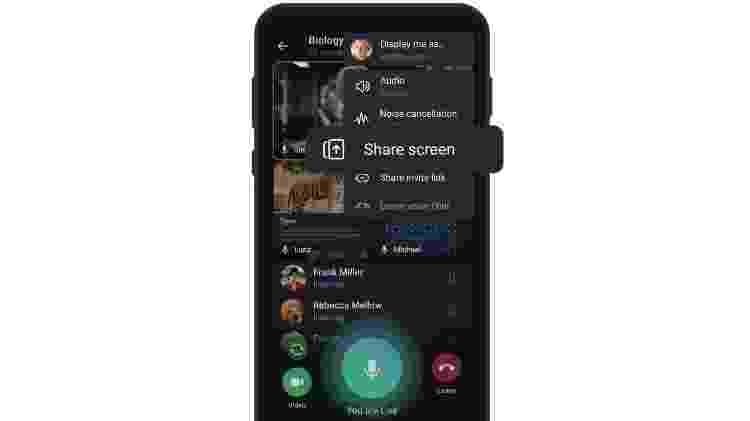 Tela para compartilhar tela em chamadas em grupo - Reprodução - Reprodução