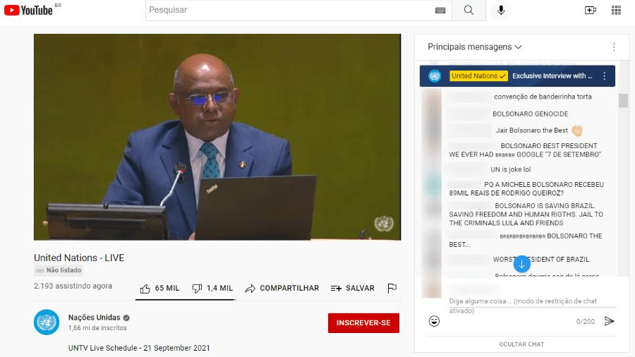 """Brasileiros """"invadem"""" transmissão oficial da ONU momentos antes de discurso de Bolsonaro - Reprodução"""
