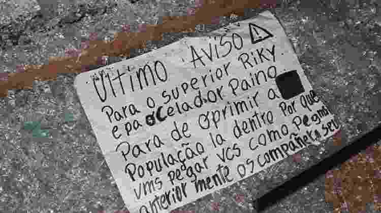 Bilhete foi deixado na cena do crime - Reprodução/Twitter/La Nación Paraguay - Reprodução/Twitter/La Nación Paraguay