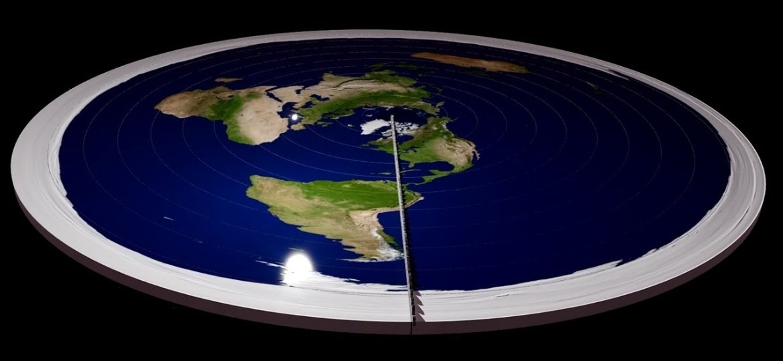 Conceito de uma Terra plana com o Polo Norte no centro e a Antártida nas periferias defendido por alguns - Reprodução