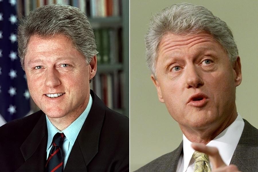 A administração dos Estados Unidos rendeu vários cabelos brancos a mais para Bill Clinton. Nas fotos, é possível ver a comparação do ano em que ele entrou no cargo (1993, com 47 anos) e do fim de seu segundo mandato, em 2000, aos 54 anos. As polêmicas como o escândalo sexual com uma secretária podem ter contribuído, né, ?presida??