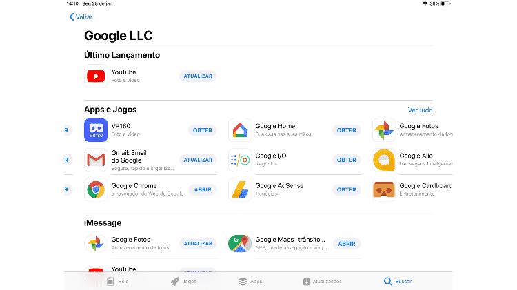 Escolhendo apps do Google - Reprodução - Reprodução