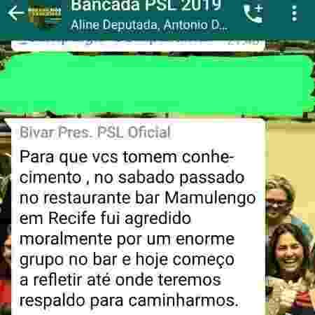 Mensagem de Luciano Bivar, presidente do PSL, aos colegas do partido no grupo de Whatsapp da bancada no Congresso - Reprodução