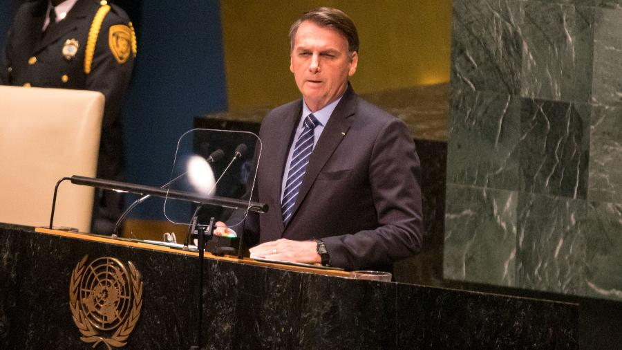 O presidente da República, Jair Bolsonaro, discursa na ONU, em Nova York, ontem - William Volcov/Brazil Photo Press/Folhapress