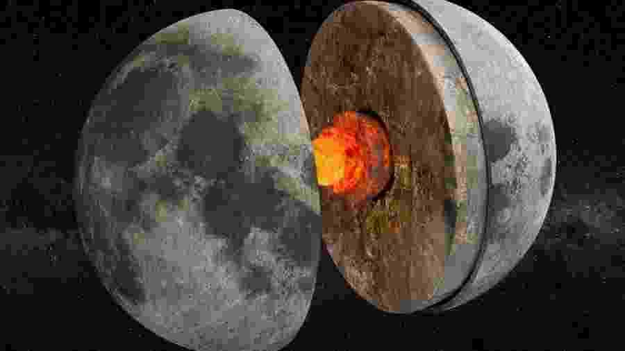 Há bilhões de anos, o núcleo da Lua funcionava como um dínamo que gerava um campo magnético. - Getty Images
