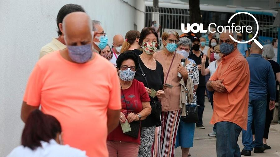 Fila de vacinação de idosos na cidade de São Paulo. Campanha nacional caminha a passos lentos e não terminou a imunização de grupos prioritários em mais de dois meses de duração - UOL Confere
