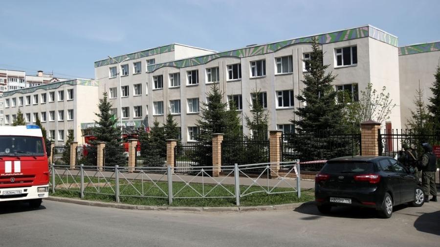 Escola número 175 em Kazan, onde o ataque aconteceu - Yegor Aleyev/TASS/Getty Images