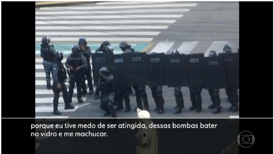 Bandidos fardados atiram contra prédios durante ataque criminoso da PM de Pernambuco a manifestantes - Reprodução/TV Globo
