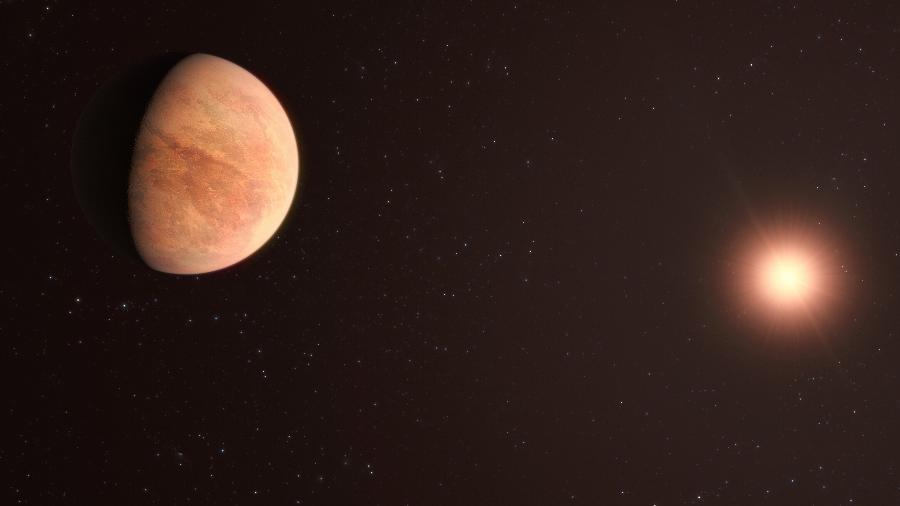 Impressão artística do planeta L 98-59b, parte do sistema planetário analisado no estudo - M. Kornmesser/ ESO