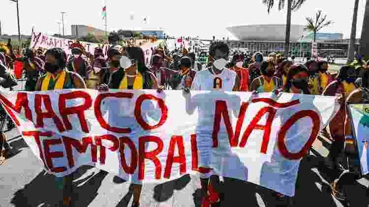 Em Brasília, indígenas protestam contra marco temporal - Raissa Azeredo | Aldeia Multietnica - Raissa Azeredo | Aldeia Multietnica