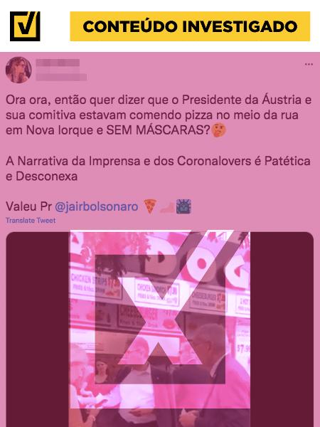 Posts em redes sociais mostram vídeo do presidente da Áustria, Alexander Van Der Bellen, se alimentando na rua em Nova York e comparam com ato de Jair Bolsonaro - Projeto Comprova / Reprodução