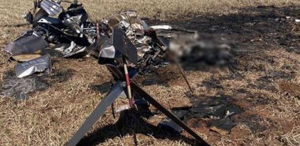 Helicóptero cai e polícia acha corpos carbonizados e drogas no local, em MS