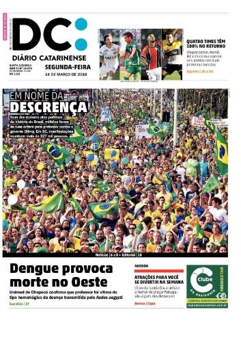 SC: Capa do jornal Diário Catarinense de 14 de março de 2016